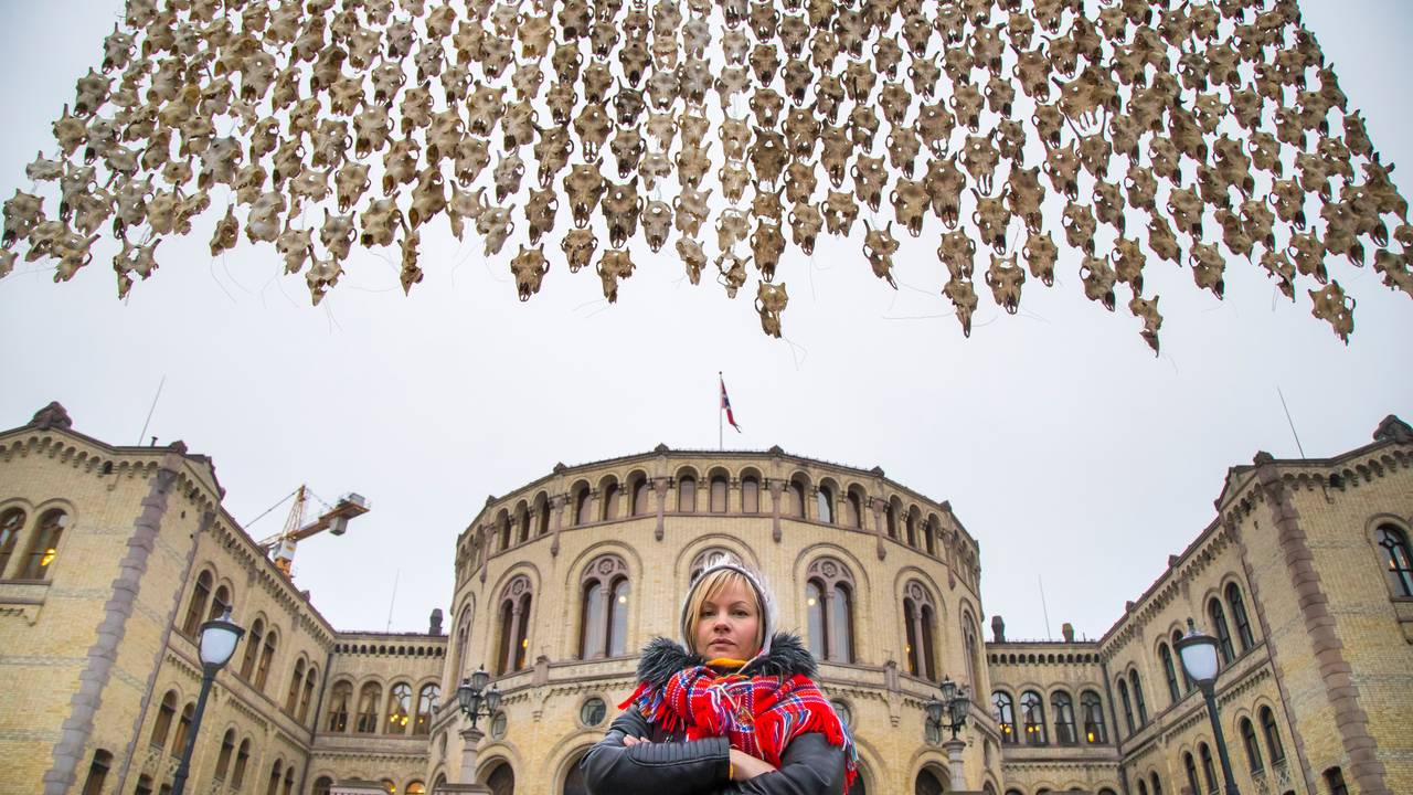 400 reinsdyrskaller utstilt på Eidsvold plass