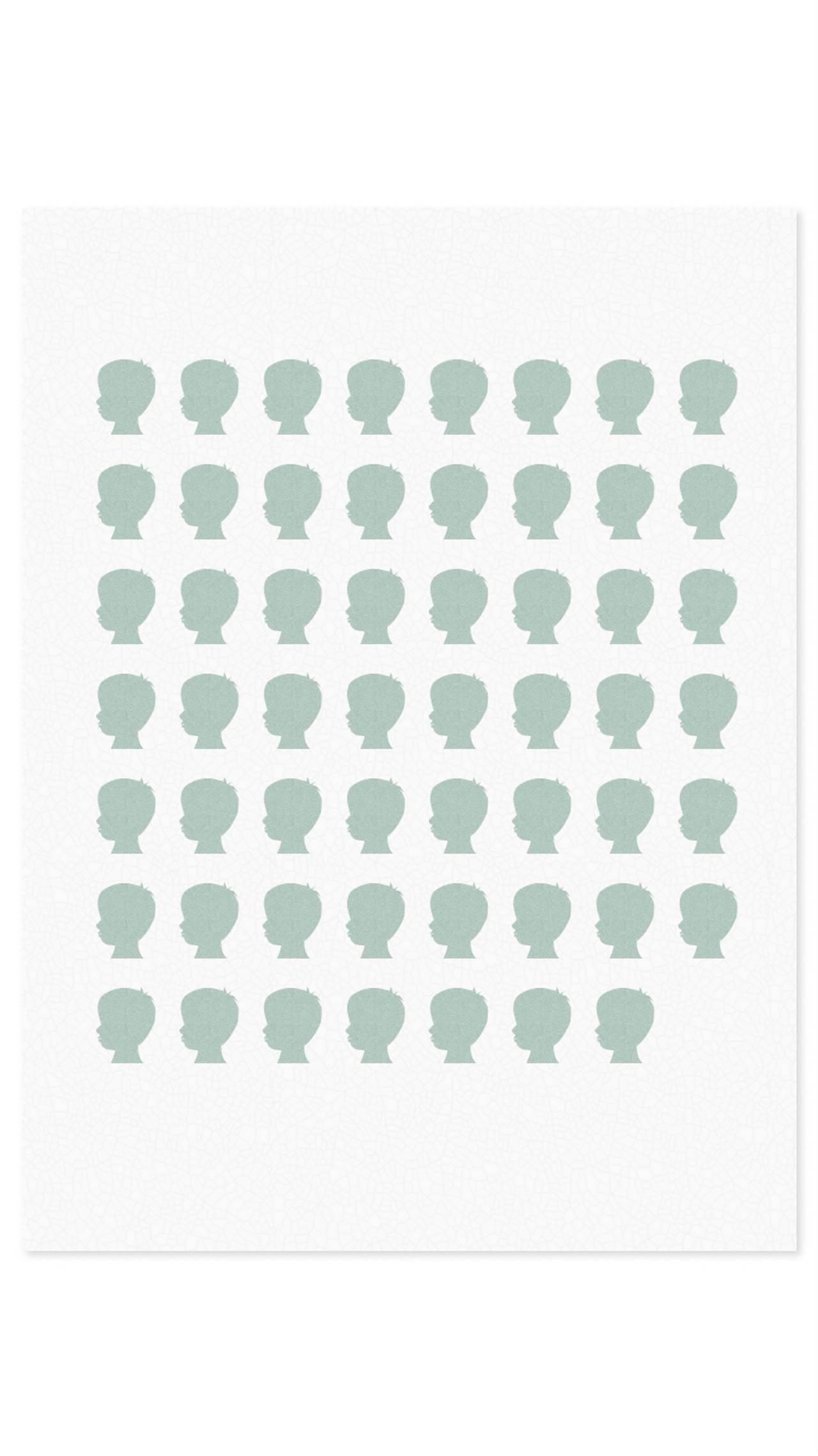 Grafikken viser 55 grønne silhuetter av små barn
