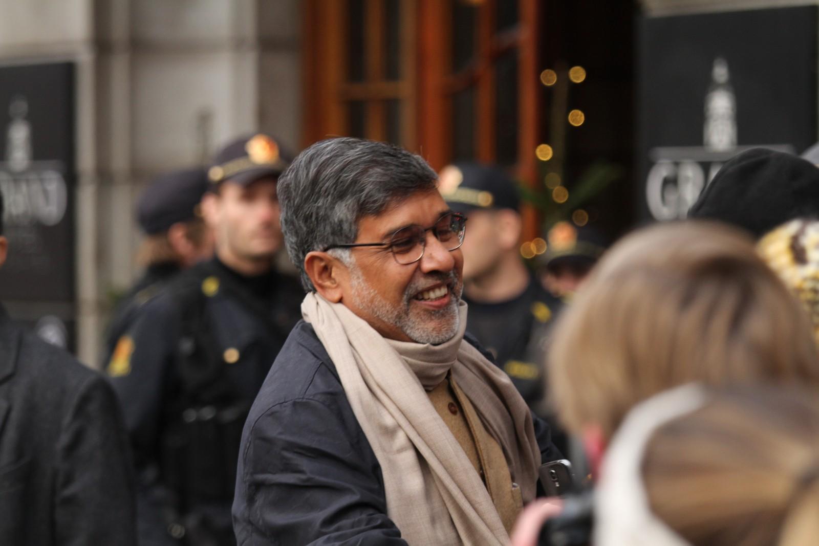 GLAD: Kailash Satyarthi (60) foran Grand 9. desember.