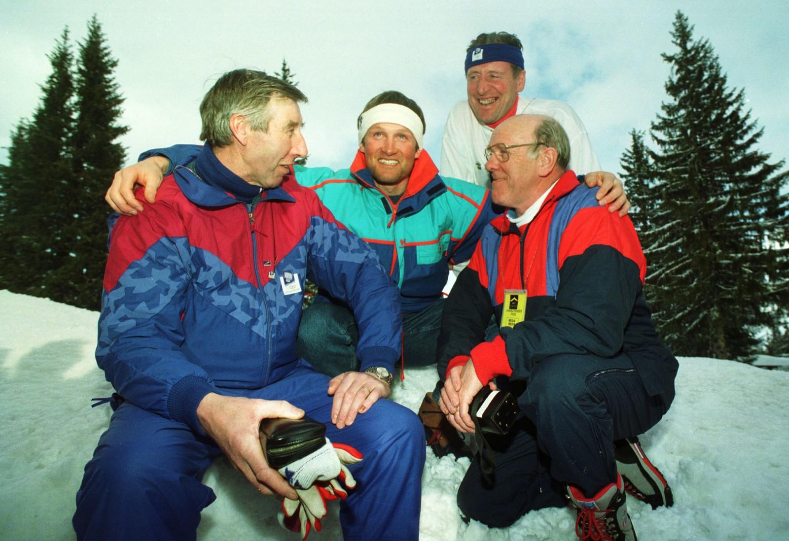 Vegard Ulvang avbildet med gamle OL-mestere fra Grenoble, Harald Grønningen, Ole Ellefsæter og Haakon Brusveen.