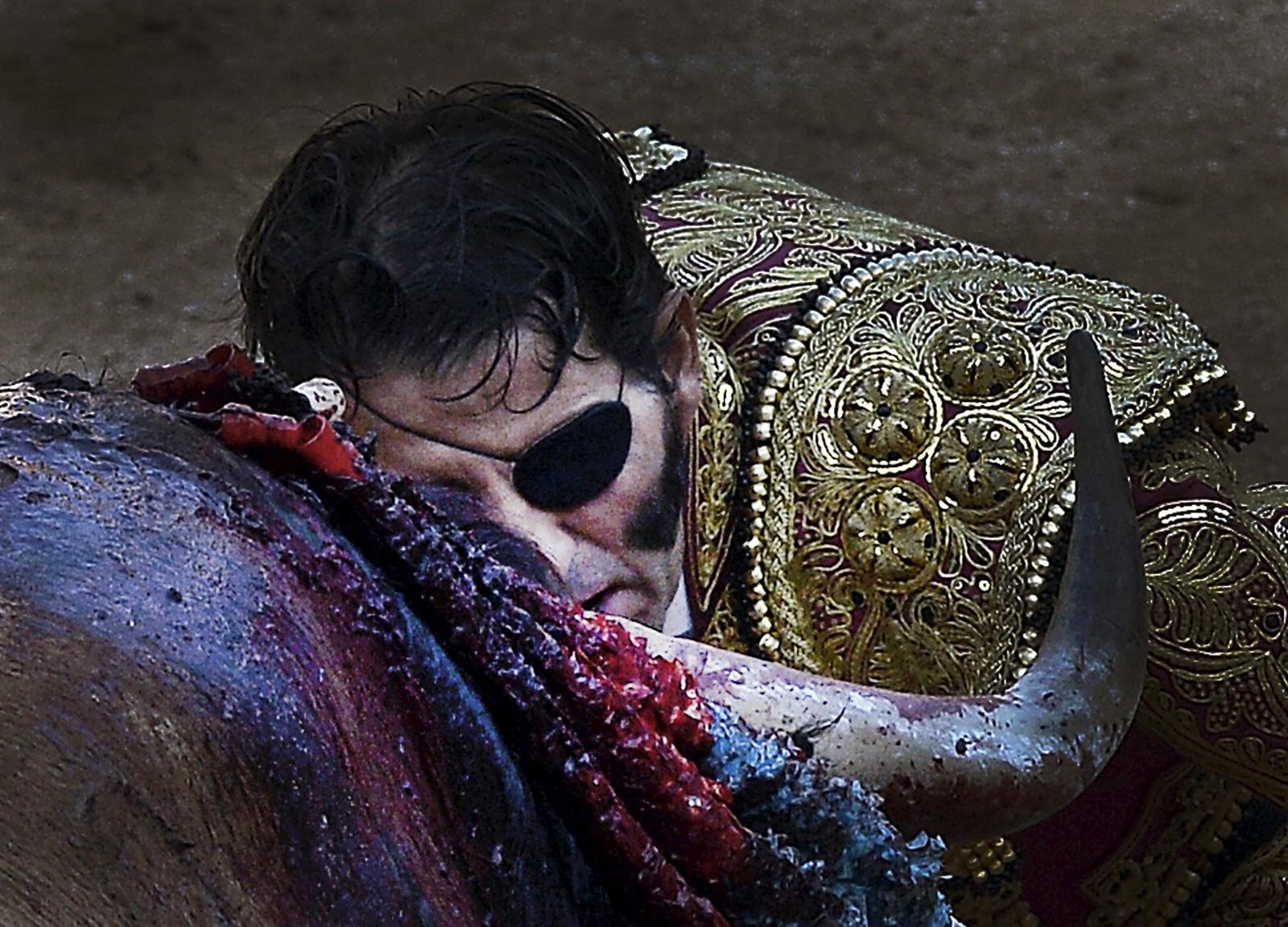 Den spanske tyrefekteren Juan Jose Padilla, med den gjenkjennelige lappen over øyet, i aksjon under San Fermin-festivalen. Padillas øyeskade kom etter et ublidt møte med en okse i 2011, og han har etter det blitt kalt «piraten».