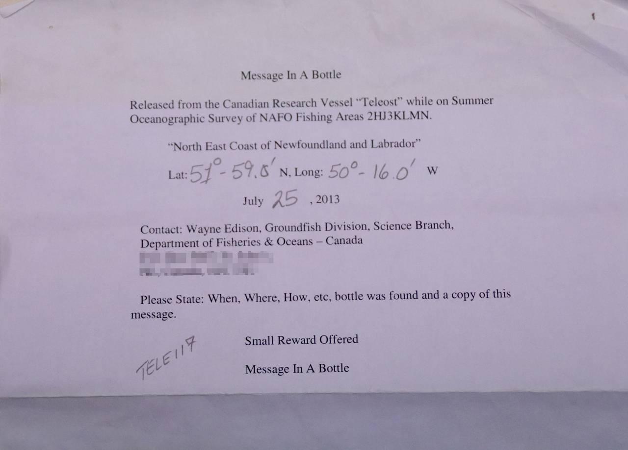 Flaskepost sendt fra fiskebåt utenfor Canada. Koordinatene er med i brevet.
