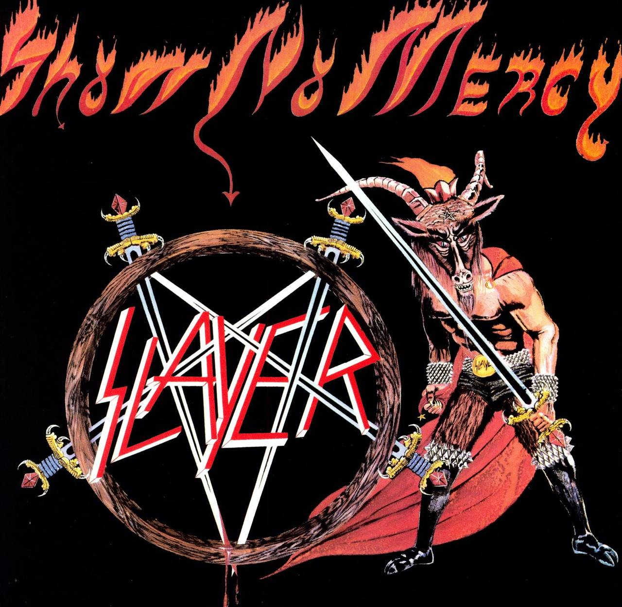 Coveret til Show no Mercy av Slayer. Coveret viser en mann med geitehode som holder et langt sverd og har på seg en lang rød kappe ved siden av bandets karakteristiske pentagram-logo.