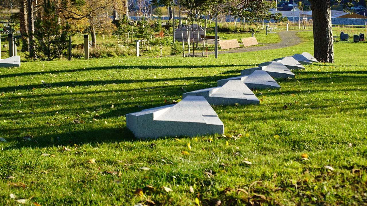 Urnefelt på Charlottenlund gravlund.