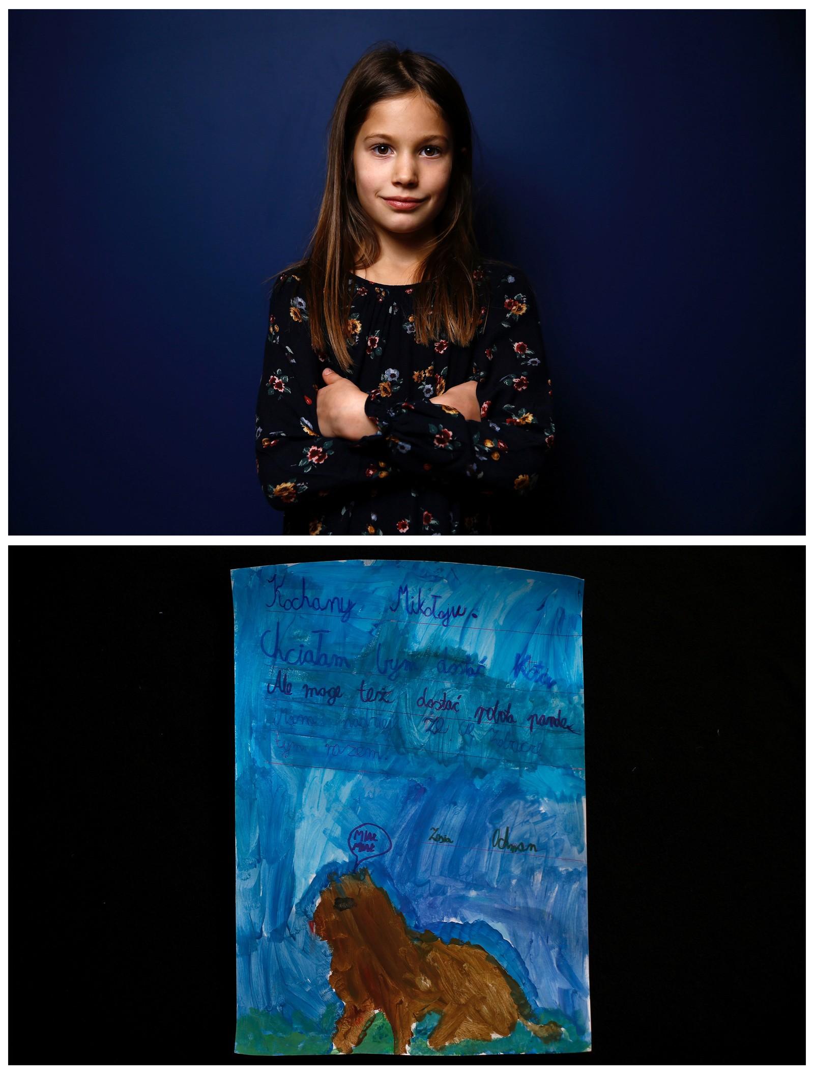 Polske Zofia (8) ønsker seg en katt, robotpanda også er ok. Nyhetsbyrået Reuters har fotografert barn fra hele verden og spurt dem hva de ønsker seg fra nissen i år.