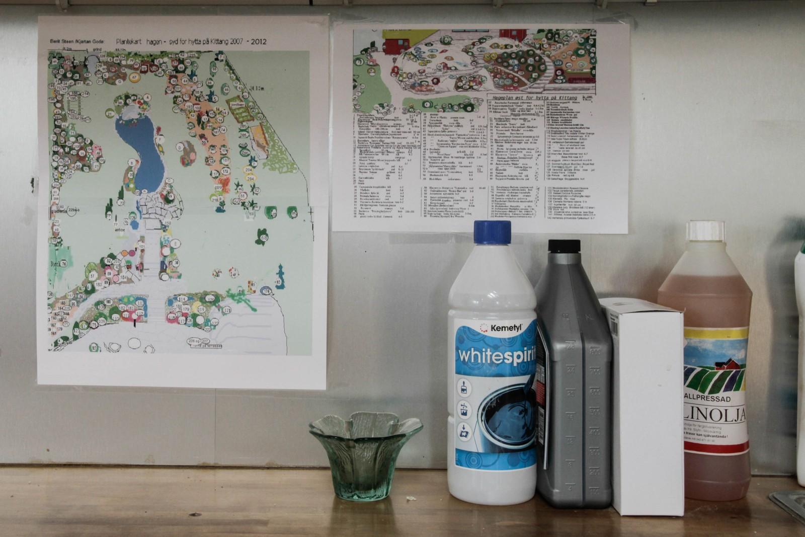 Atelieret og hagen går nesten i eitt, og her har Berit Steen hengt opp ei fullstendig oversikt over plantar og plassering. Ingenting er tilfeldig.