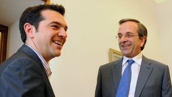 Alexis Tsipras (t.v.) og Antonis Samaras