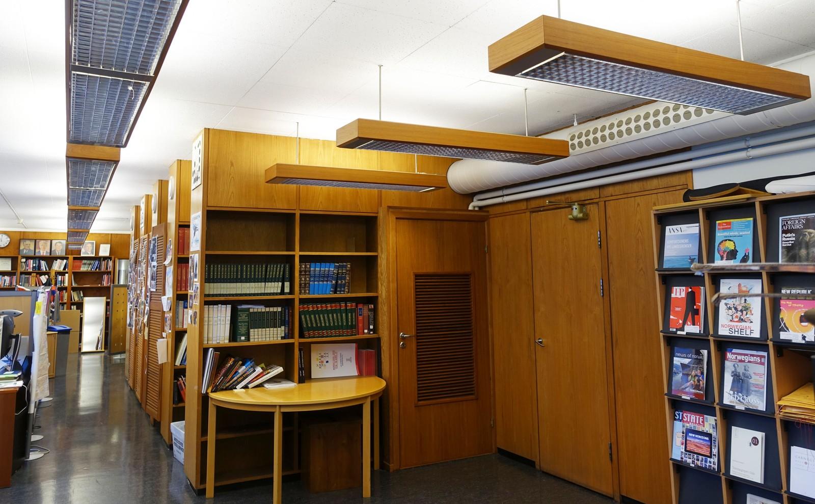 Nå er biblioteket og alle bøkene borte. Dette har nå blitt kontorlokaler, men reolene og lampene er bevart og vil trolig bli fredet.