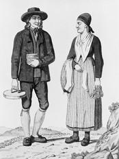 """Slik skal folk i Gaular ha vore kledde til kvardags tidleg på 1800-talet, om vi skal byggje på dette koparstikket av J. Senn etter teikning av Joh. F. L. Dreier. Frå """"Norske Nationale Klædedragter"""", utgjeve i København 1812-1815. """"Mand og Kone fra Bøgstads Sogn i Søndfjord i Bergenhuus Stift"""" er biletteksten. © Fylkesarkivet."""