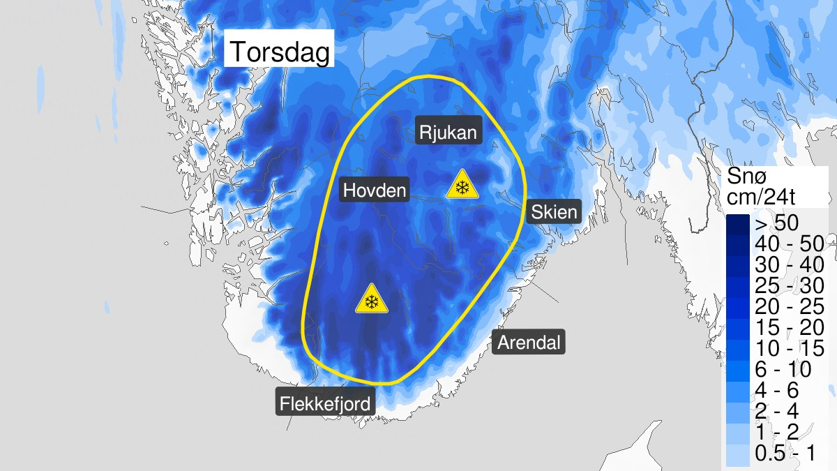 Gult farevarsel fra Meteorologisk institutt.