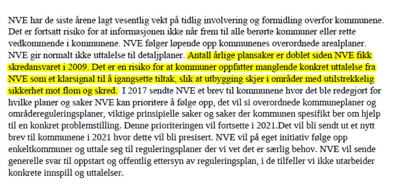 Utdrag fra risikorapport for 2021 av Norges vassdrags-og energidirektorat (NVE) som ble sendt til Olje- og energidepartementet (OED) i november