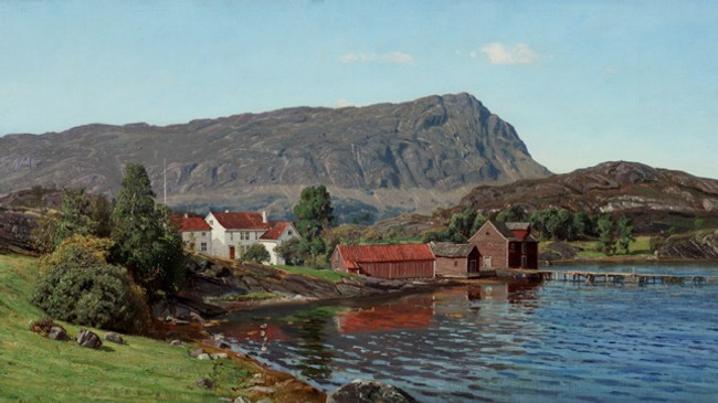 Dette måleriet av Amaldus Nielsen med tittelen Gammel vestlandsgård har truleg motiv frå Lifjorden. Fjellet minner iallfall sterkt om Lifjellet. © Blomqvist Kunsthandel.