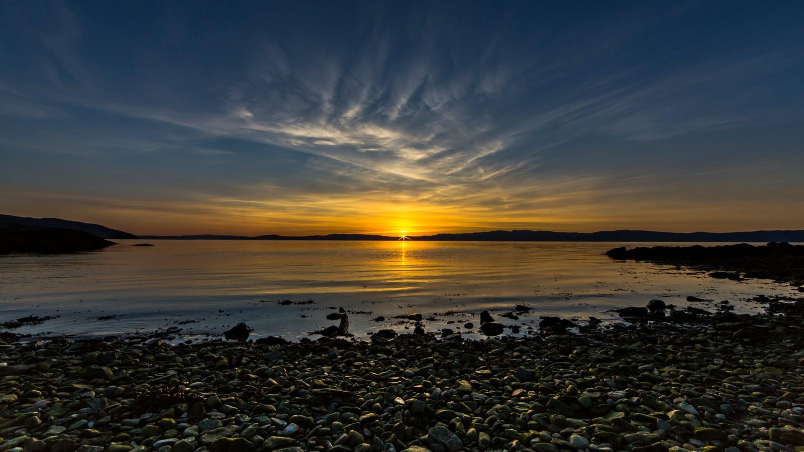 Solnedgang i Korsvika på Lade