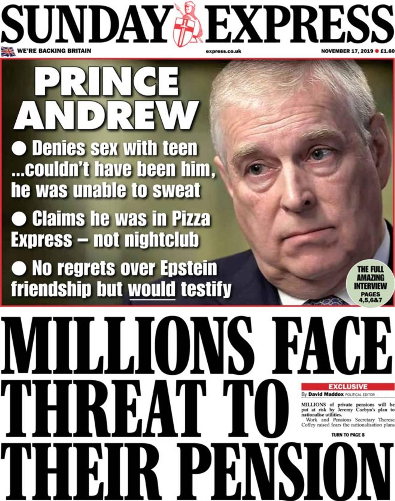 Forsiden av Sunday Express