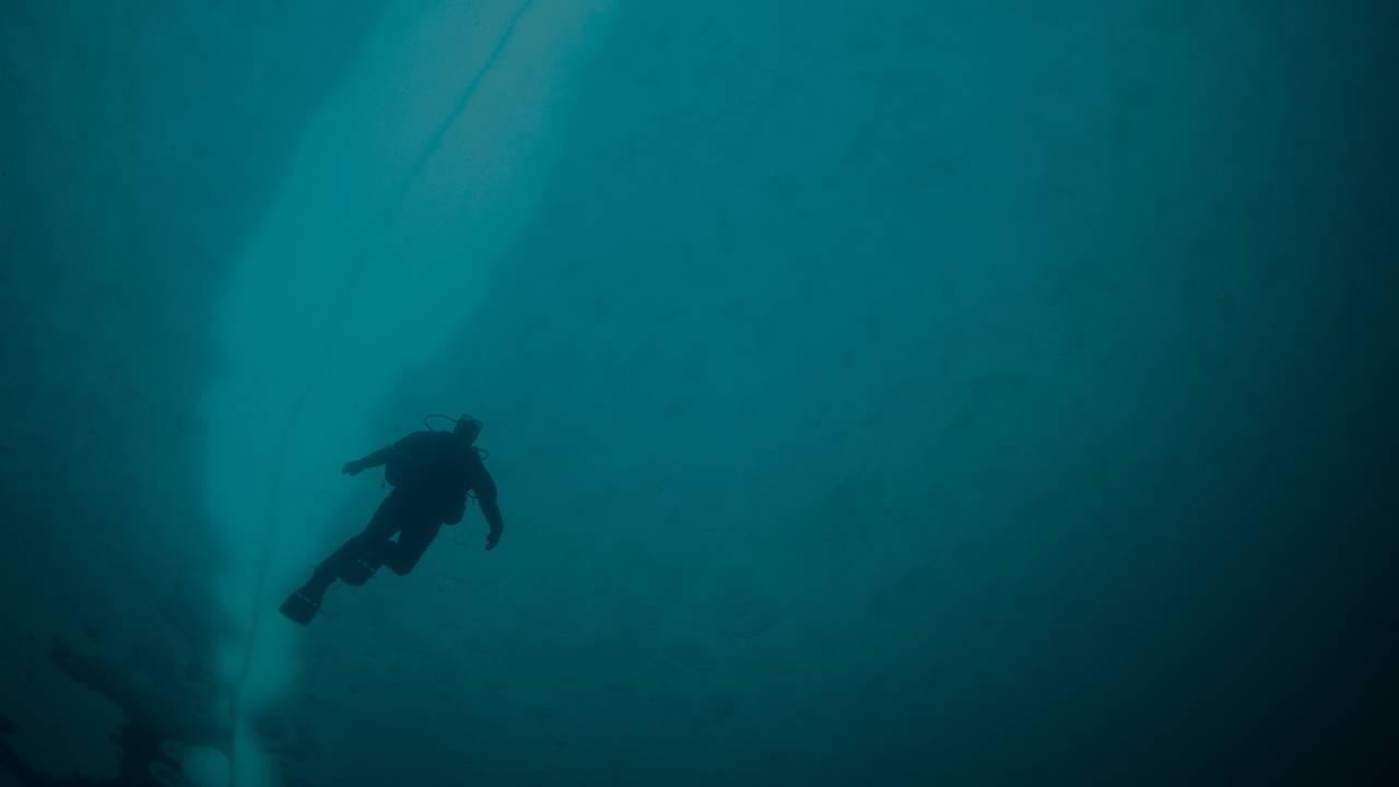 En dykker som svart silhuett under blå is i Antarktis