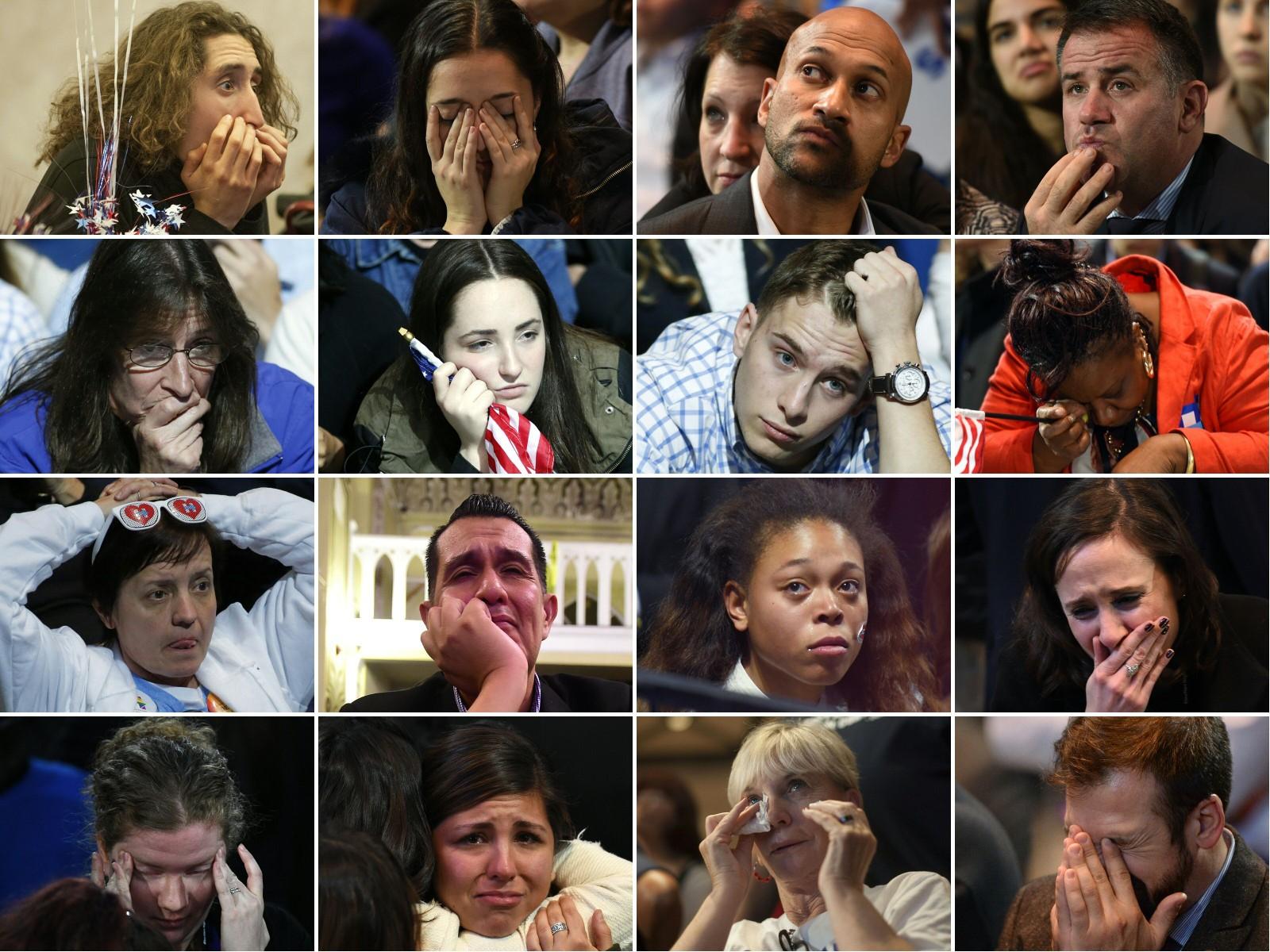 Tilhengere av Hillary Clinton reagerer når det begynner å bli klart at Donald Trump blir den neste presidenten.