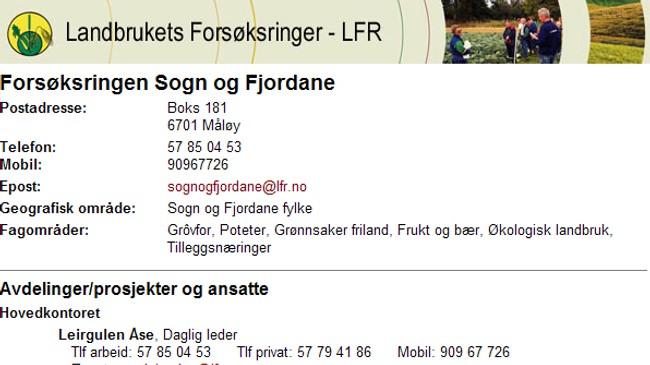 Nettsida til Forsøksringen Sogn og Fjordane.