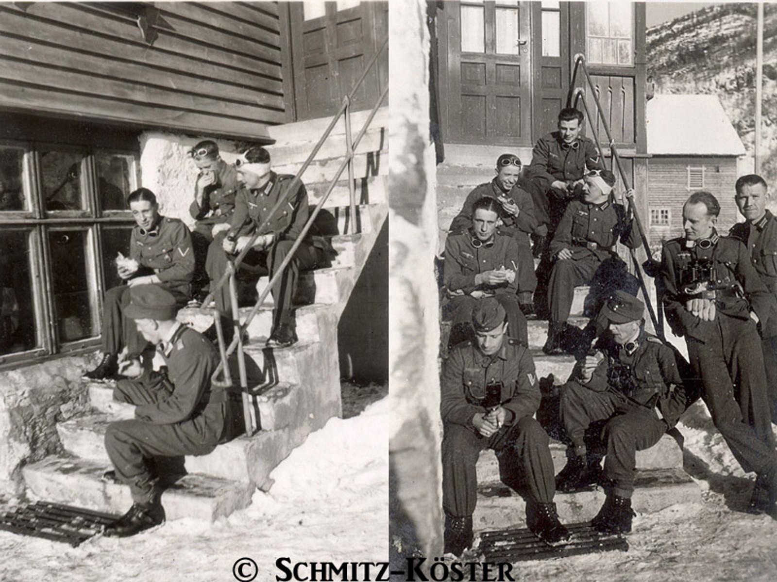 Tyske soldatar på veg til Skulestadmo tek ein rast på Tvinne.