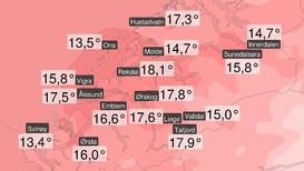 SOMMARLEG: Dette er nokre av dei høgaste temperaturane målt torsdag 15. november i Møre og Romsdal. Rekdal leier med 18,1 grader.