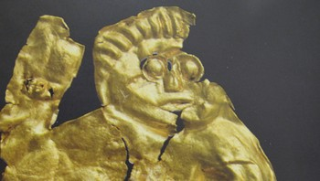 Illustrasjon fra boken om Sorte Muld : en jernalderkriger med fullt kamputstyr
