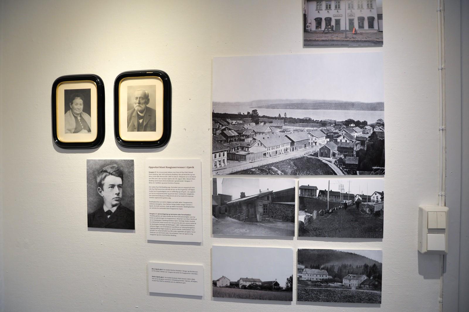 Utstillingen har også bilder av lokal interesse. Her er bilder av Boddings familie og hvor de bodde i Gjøvik på 1800-tallet.