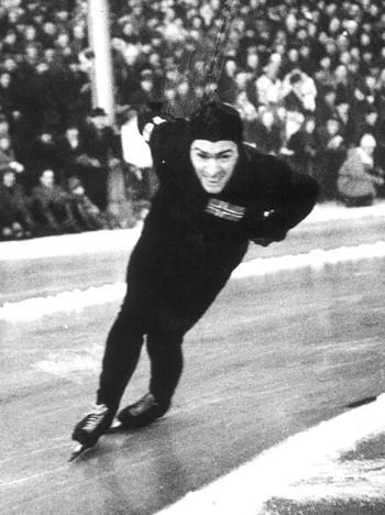Sverre Farstad i aksjon under Ol i St. Moritz i 1948