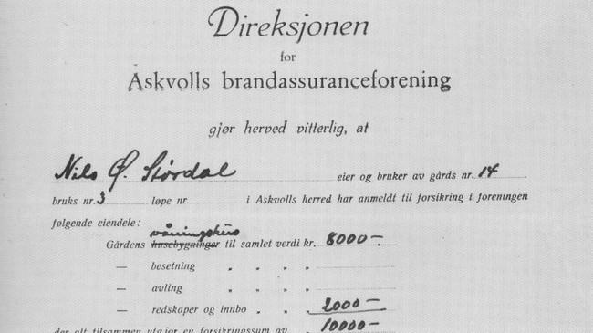 Faksimile som viser at Nils Ø. Størdal forsikra husa og reiskapane på garden sin for 10.000 kr i Askvolls Brandassuranceforening.