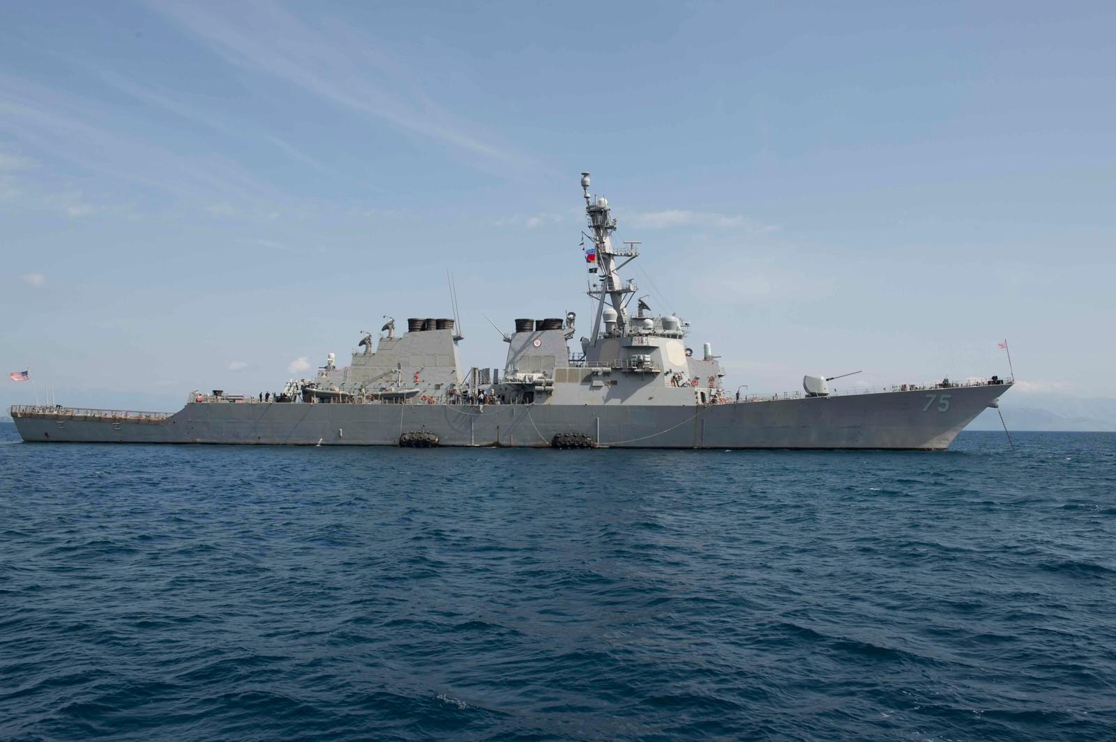 Det er det amerikanske skipet Donald Cook som ligger i Østersjøen som fikk et ublidt møte med russiske jagerfly.