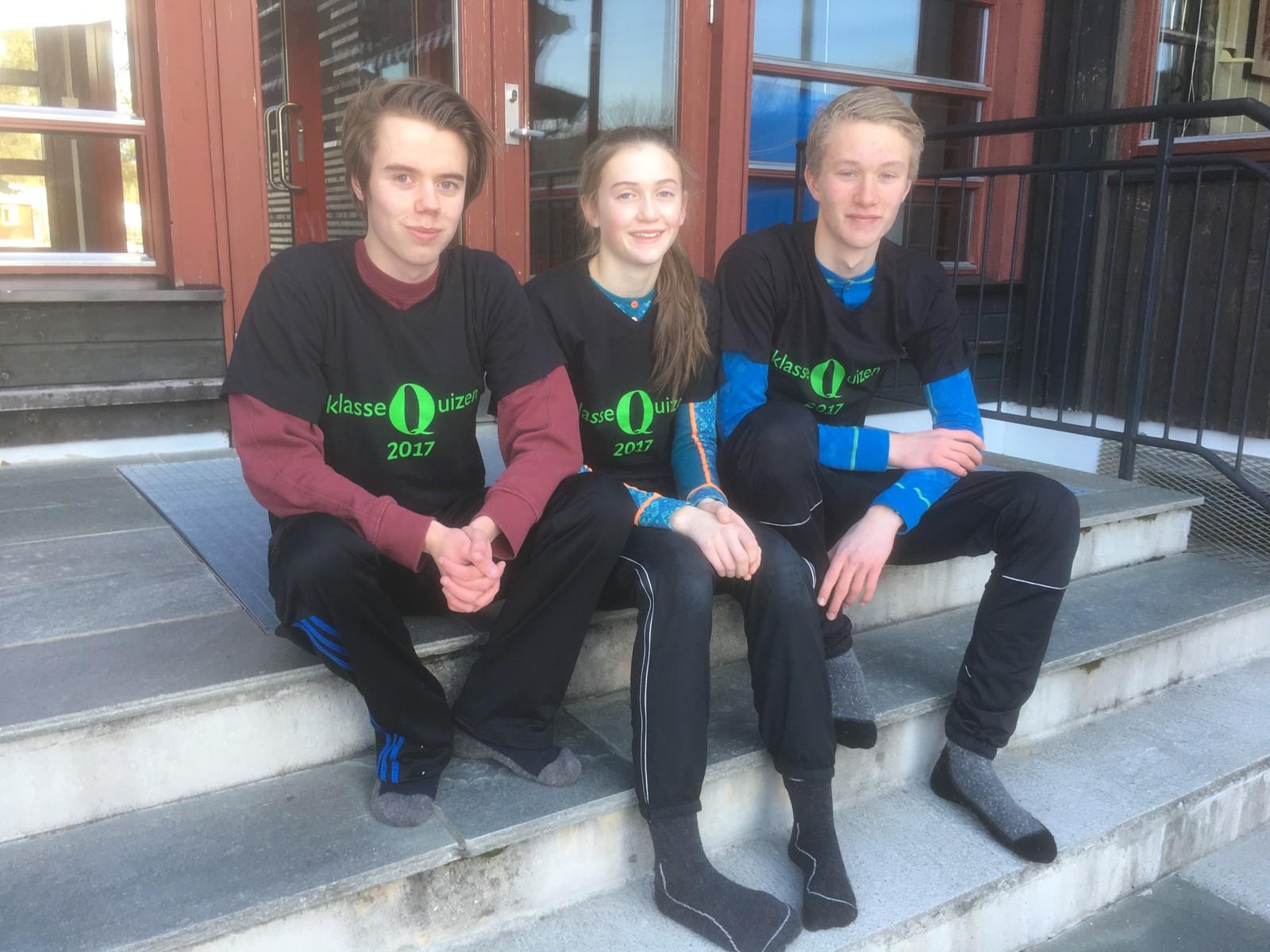 Niklas Elg Lunde, Hedda Høye og Kristian Nytrøen fra Fagertun skole i Rendalen fikk åtte rette.