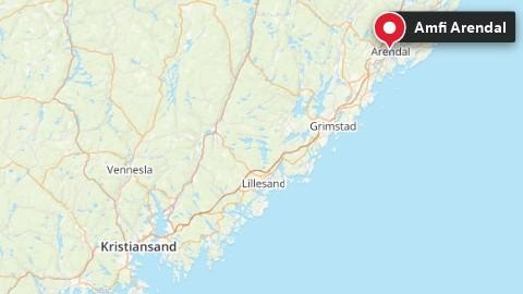 Kartet viser Amfi Arendal i Aust-Agder