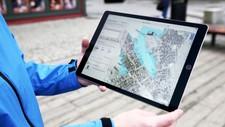 DIGITALT FLOMKART: Slik ser det nye hjelpemiddelet til Kartverket ut. Her kan du søke på kommunen din, og se hvordan fremtidens havnivåer og stormfloer vil påvirke.