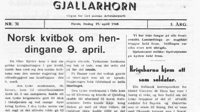 Framsida til Gjallarhorn 19. april 1940.
