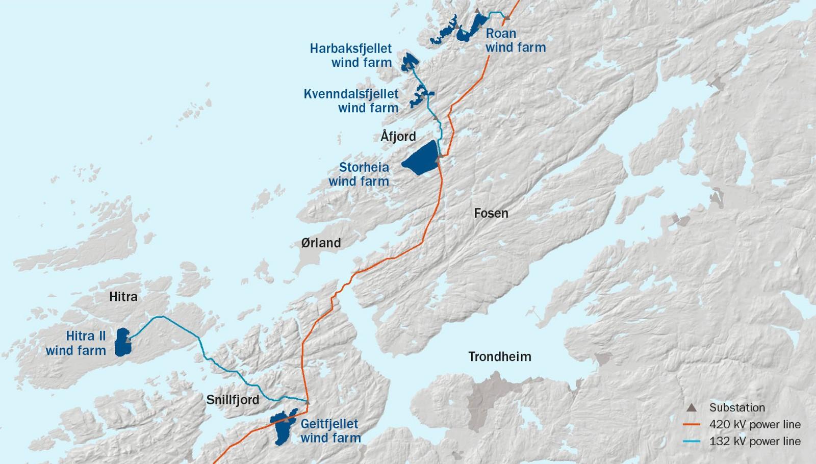 Den nye kraftlinja og de seks nye vindparkene i Trøndelag.