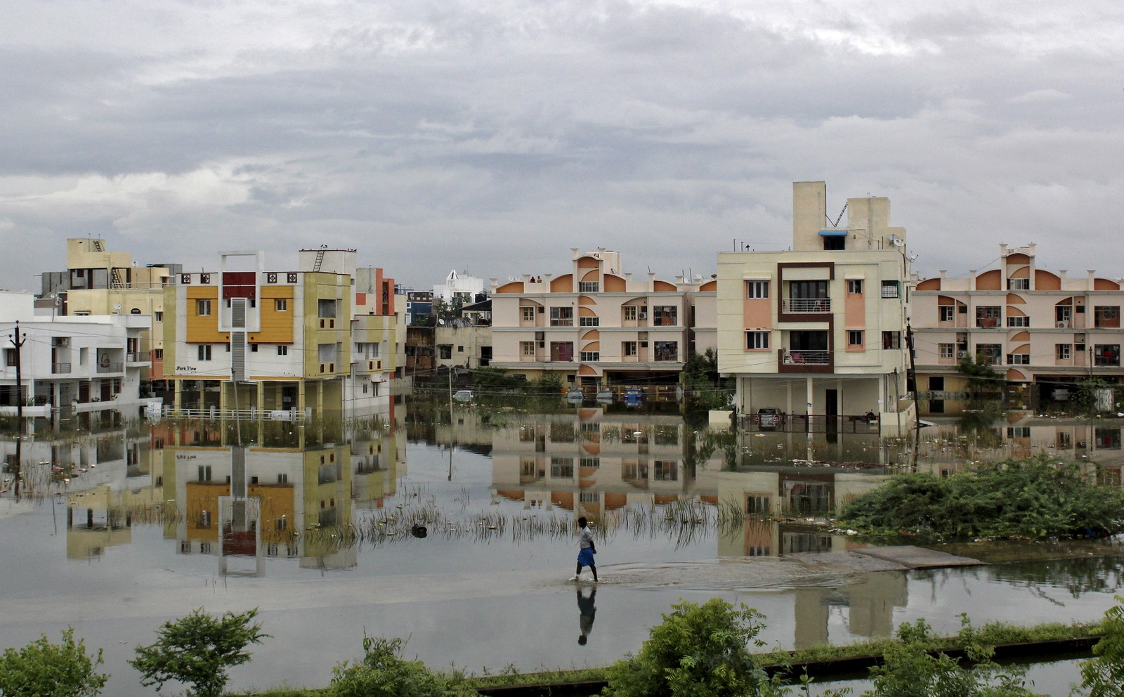 Både folk og hus er hardt råka av regnet som har falt i Chennai den siste tida.