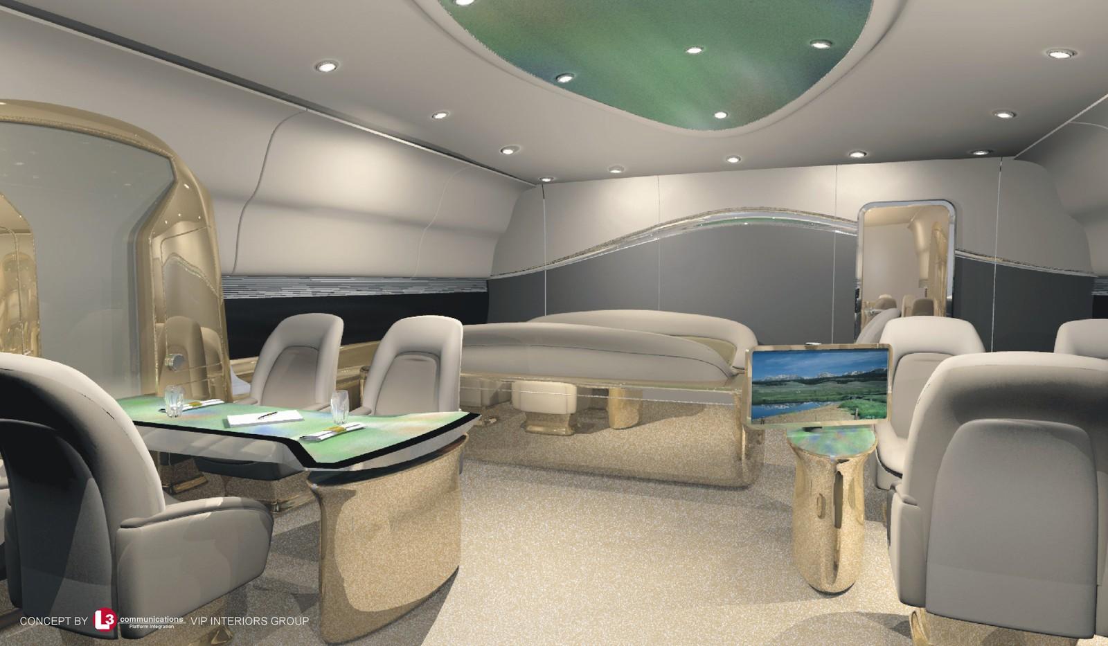 Slik fremstilles mulighetene for lususinteriør i flytypen i konseptskisser fra Boeing.