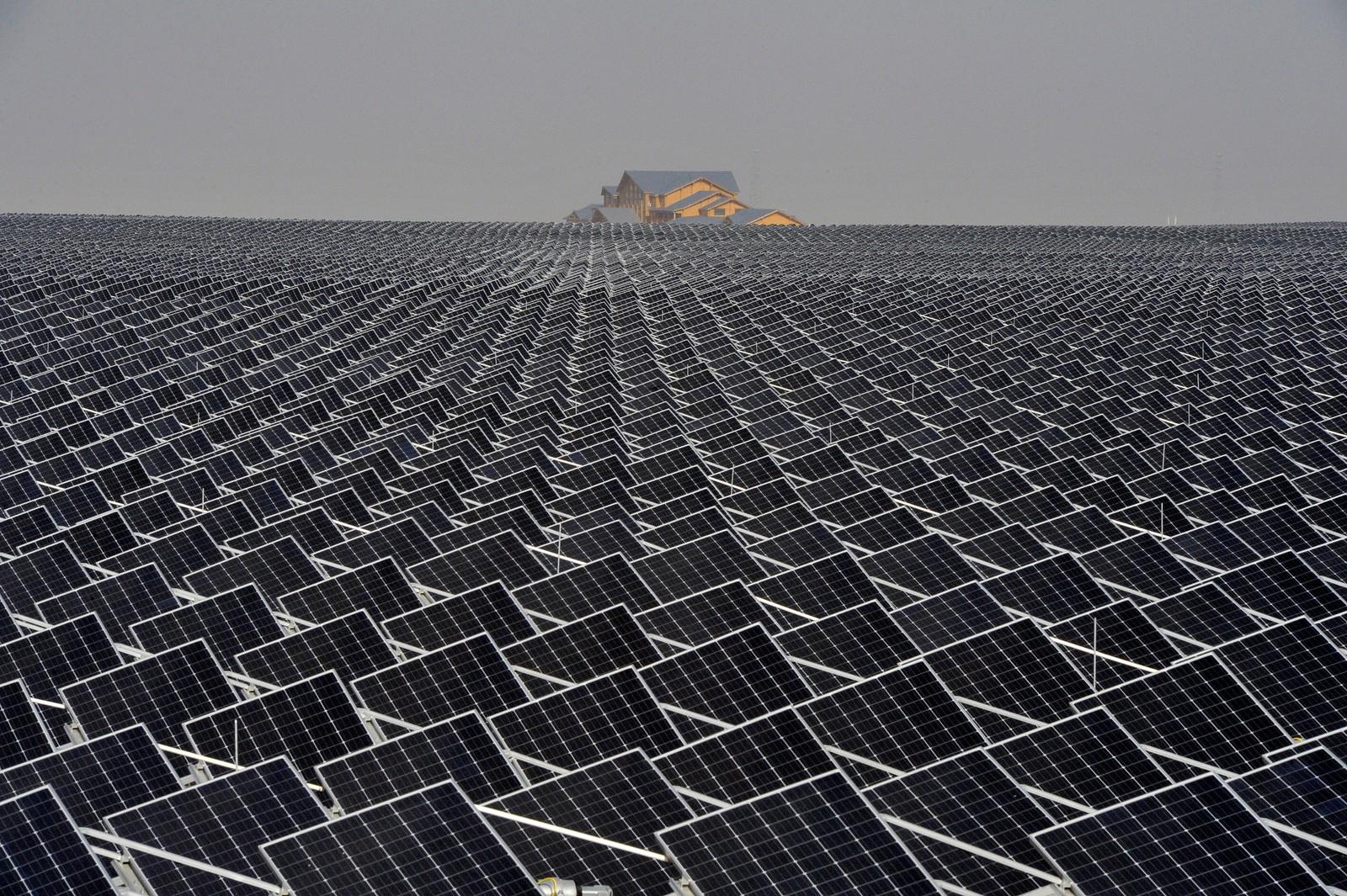 Det er ikke gull alt som glimrer. Solceller så langt øyet kan se i Yinchuan. Kina.