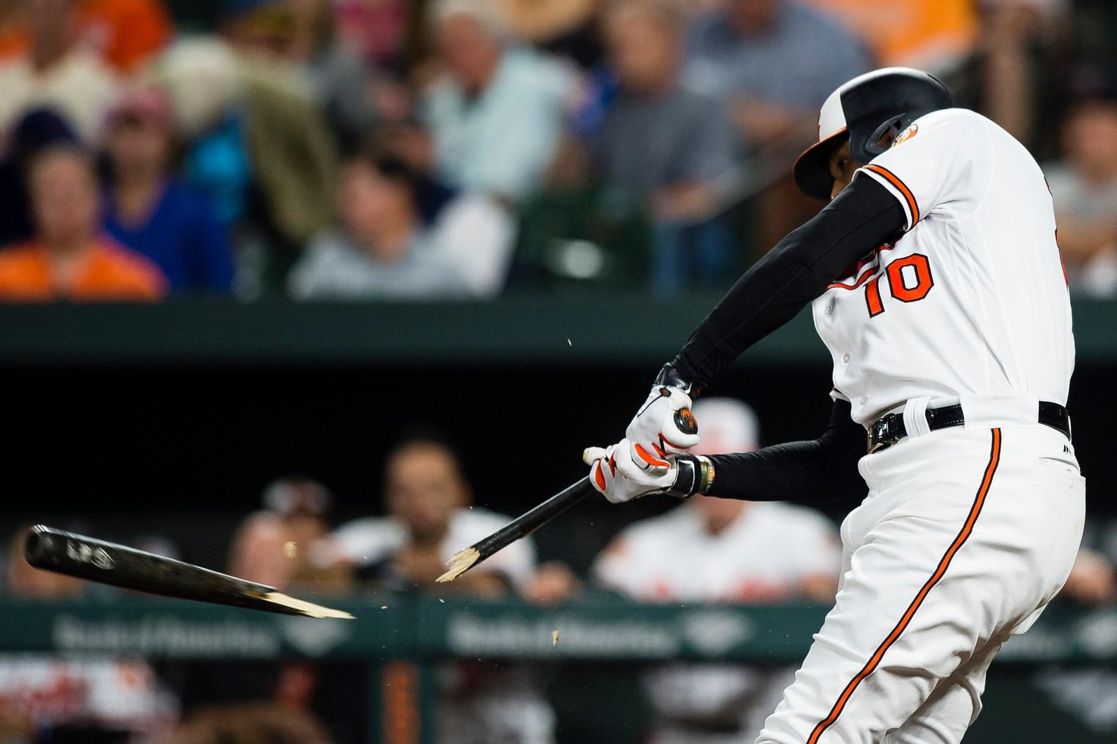 Hvor ballen er på dette bildet, aner vi ikke, men vi antar Adam Jones fra Baltimore Orioles traff den med full kraft. Resultatet taler for seg selv.