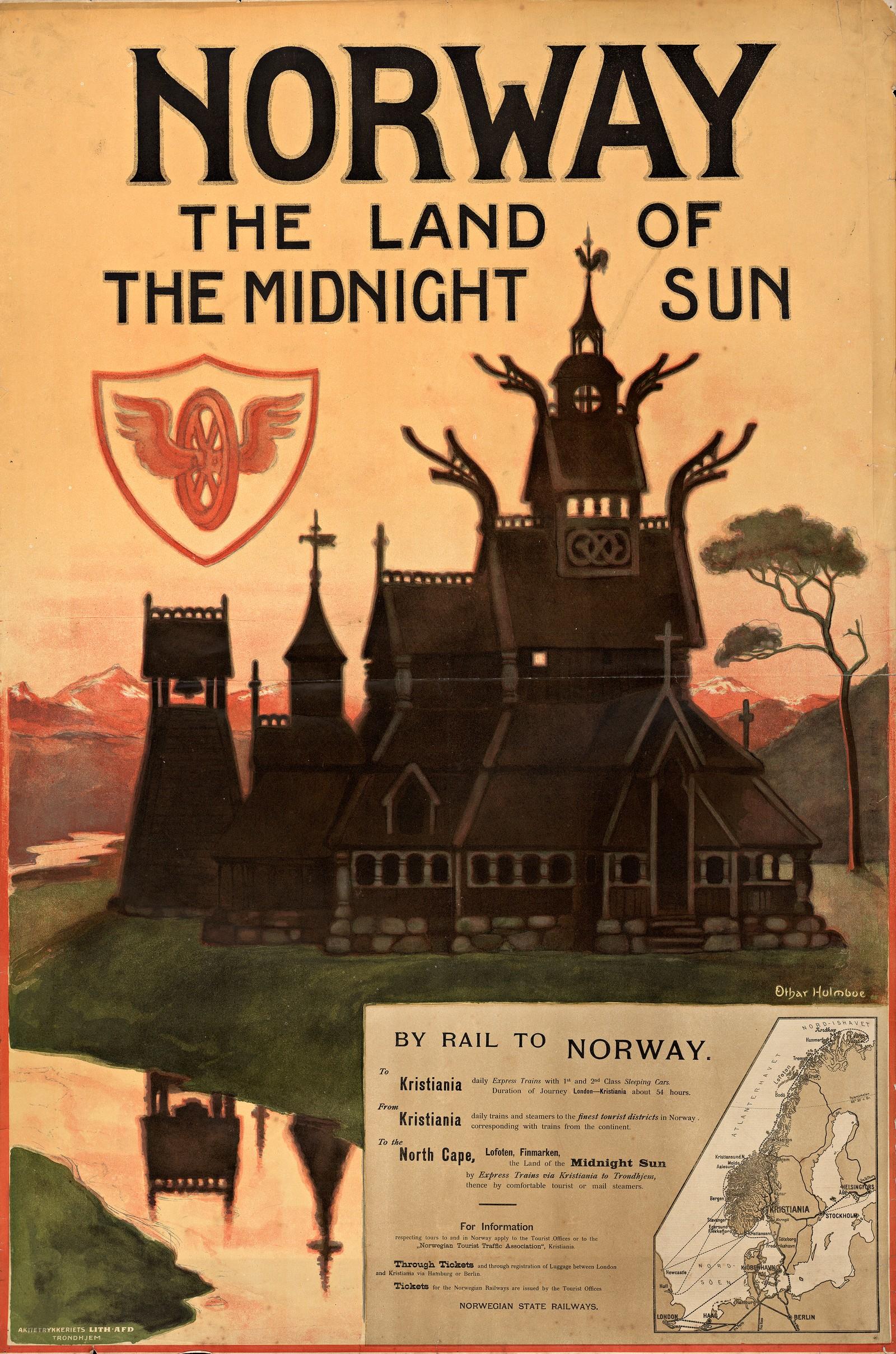 Norway – the land of the midnight sun. Turistplakat fra 1905 for NSB av Torolf Holmboe. Denne var den første norske turistplakaten som presenterte Norge som reisemål. Plakaten ble trykket på norsk, tysk og fransk.