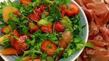 Melon- og jordbærsalat
