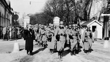 Tyske soldater på Festningsplassen 9. april 1940