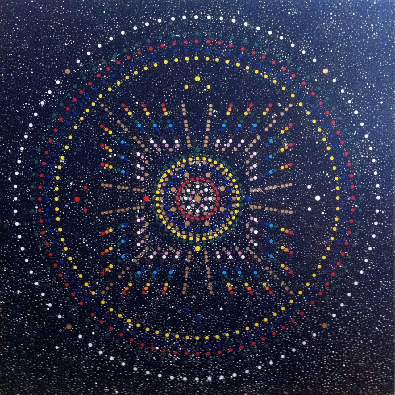 Et symmetrisk prikke-maleri fra en visjon kunstneren har hatt