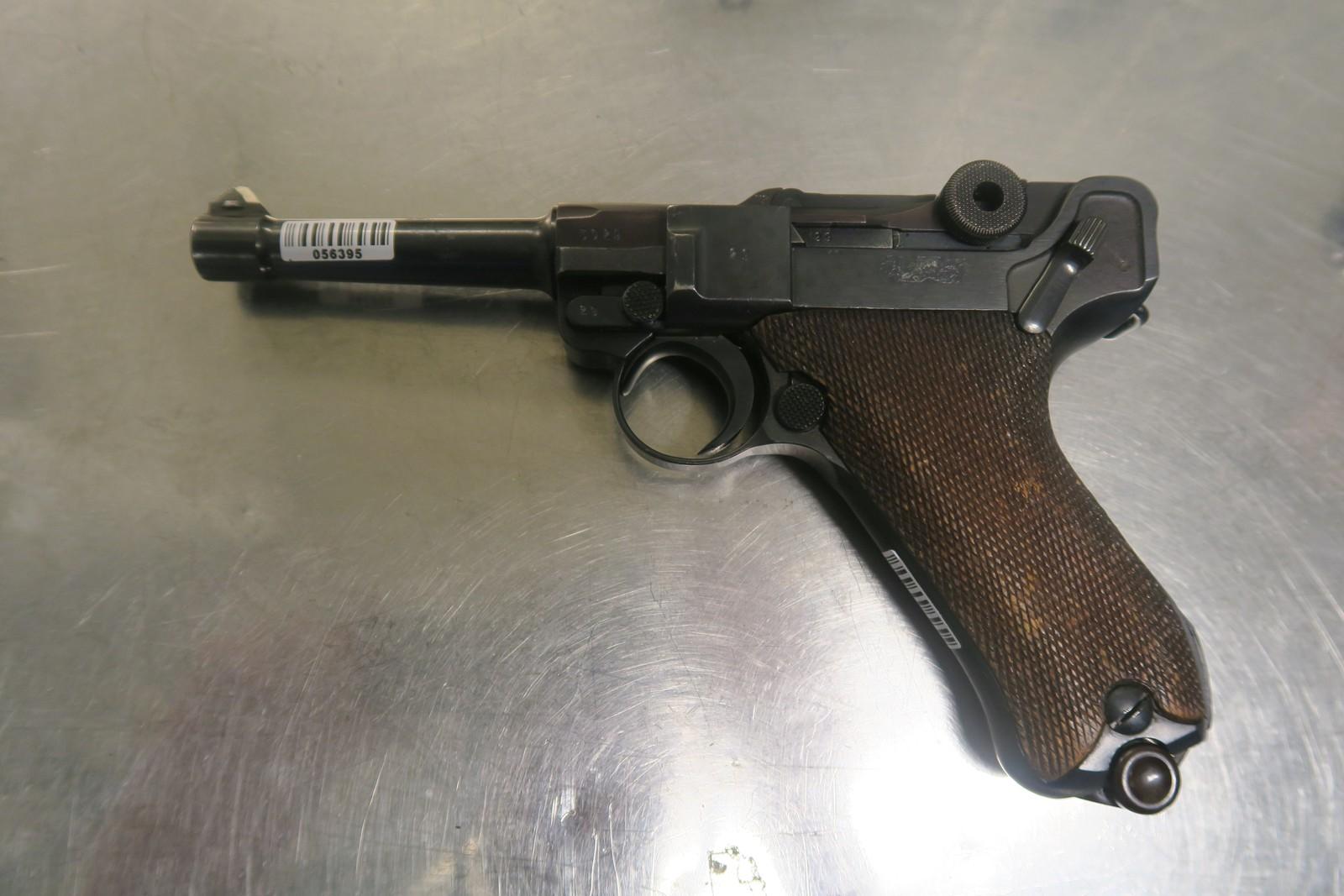9mm Luger-pistol. Brukt i tysk militærtjeneste, men også i Norge.