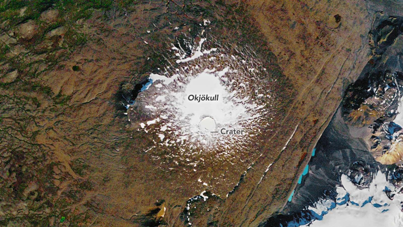 Slik så isbreen Okjökull på Island ut i 1986.