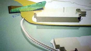 Modell av det planlagde hotellet på slakteritomta i Sogndal.