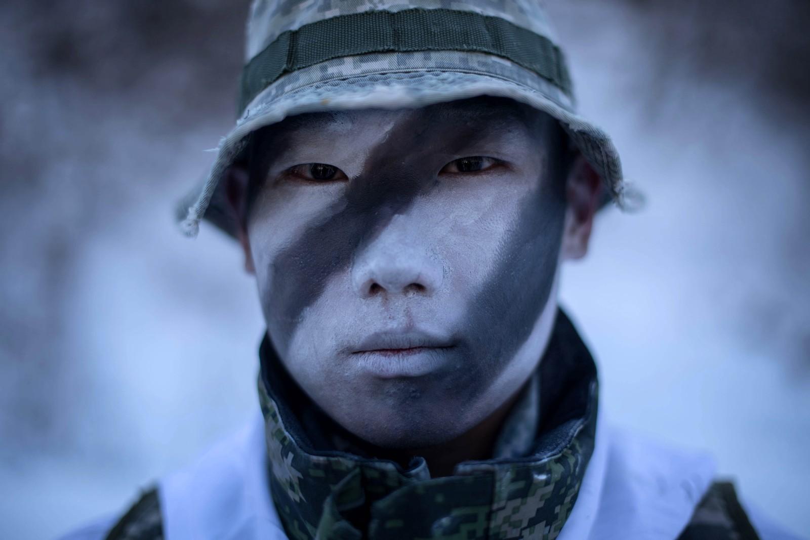 En sørkoreansk soldat under en vinterøvelse i Pyeongchang.