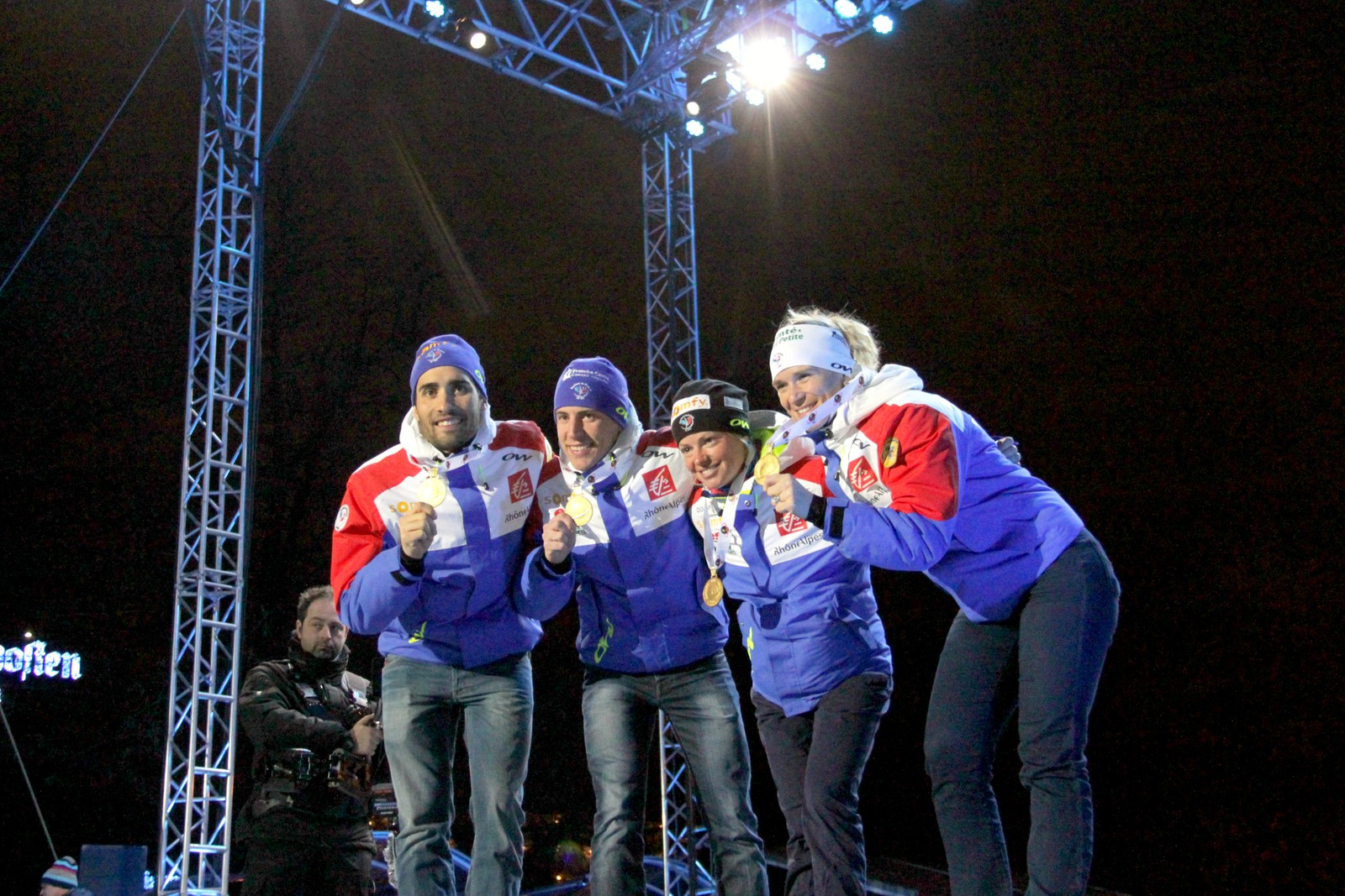 French gold medal winners, from left: Martin Fourcade, Quentin Fillon Maillet, Anais Bescond and Marie Dorin Habert