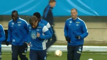 Eidur Gudjohnsen på sin første trening for Molde.