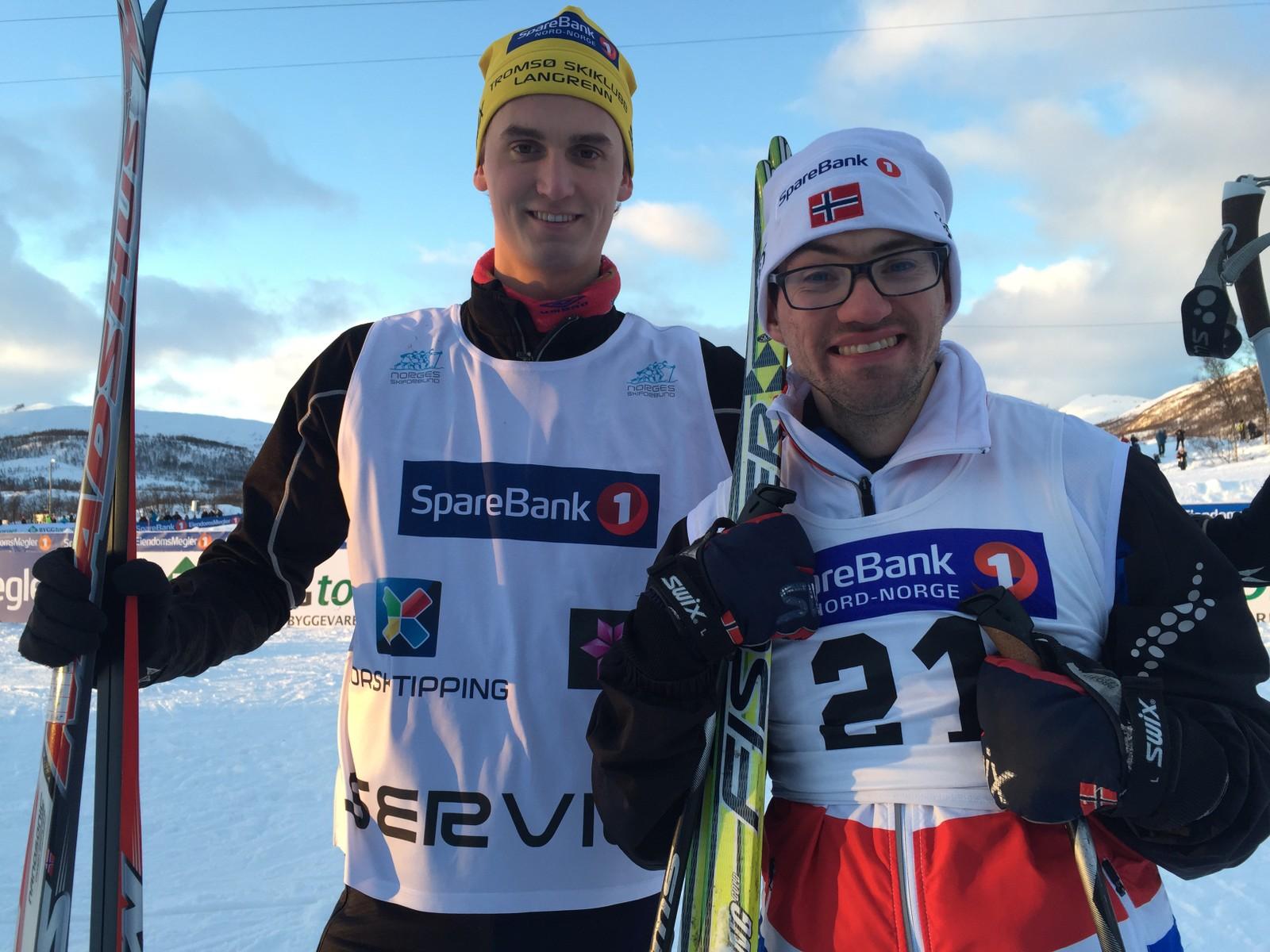 Sindre Kloster Snekkevik og Chris-Arne Olsen under ski-NM i Tromsø.