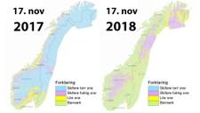 I FJOR OG I ÅR: I november i fjor var det muligheter til å stå på ski i store deler av Norge. Nøyaktig et år senere er nesten ikke snø noen som helst steder. Man har ikke klart å påvise noen klar sammenheng mellom snømengden én vinter og den neste.