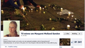 Skjermdump minneside Margaret Molland Sanden